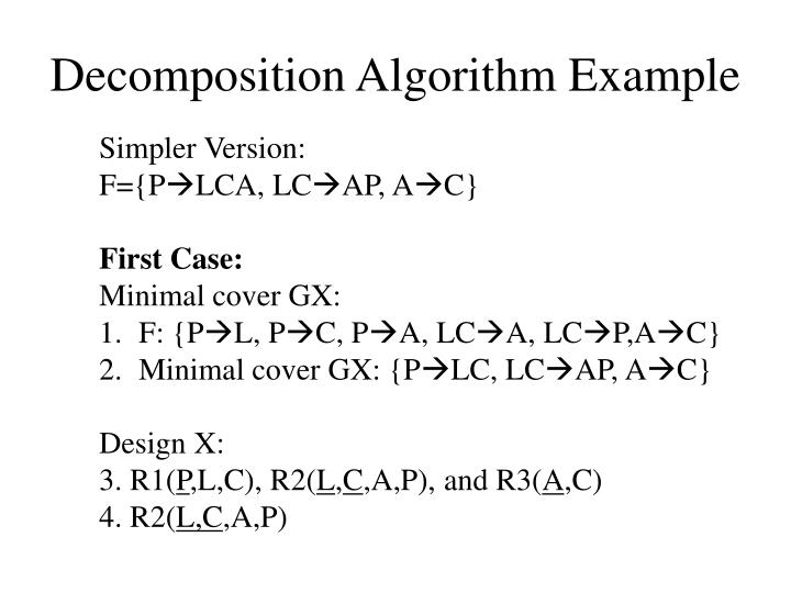 Decomposition Algorithm Example
