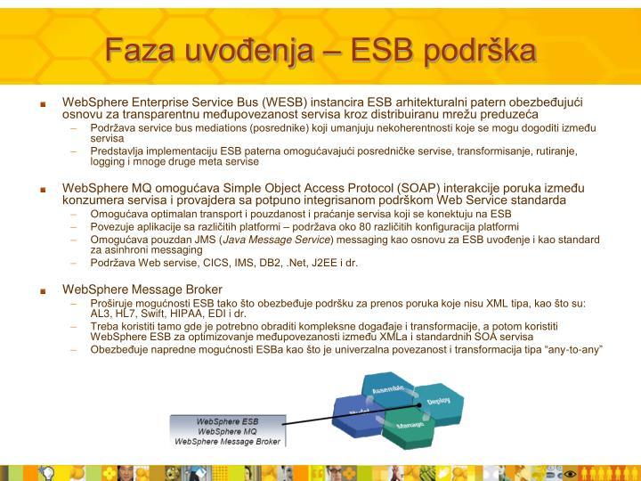 Faza uvođenja – ESB podrška