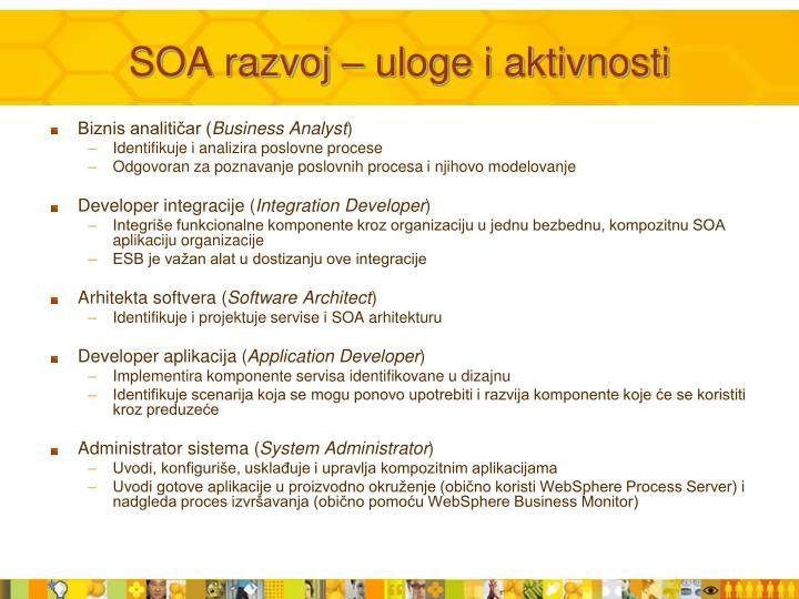 SOA razvoj – uloge i aktivnosti