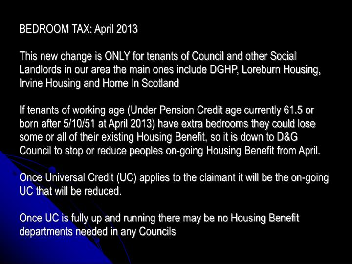 BEDROOM TAX: April 2013
