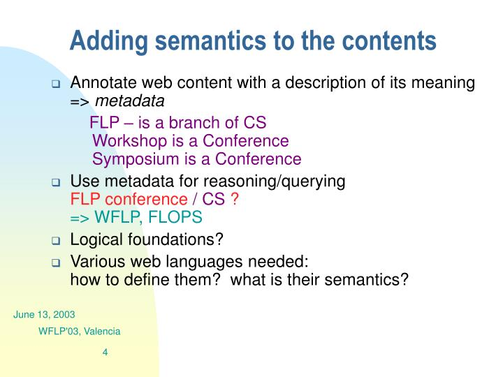 Adding semantics to the contents