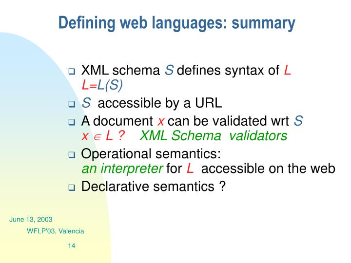 Defining web languages: summary