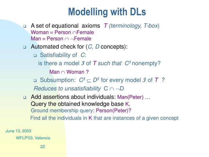 Modelling with DLs