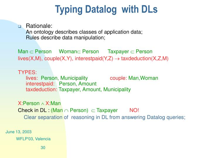 Typing Datalog  with DLs