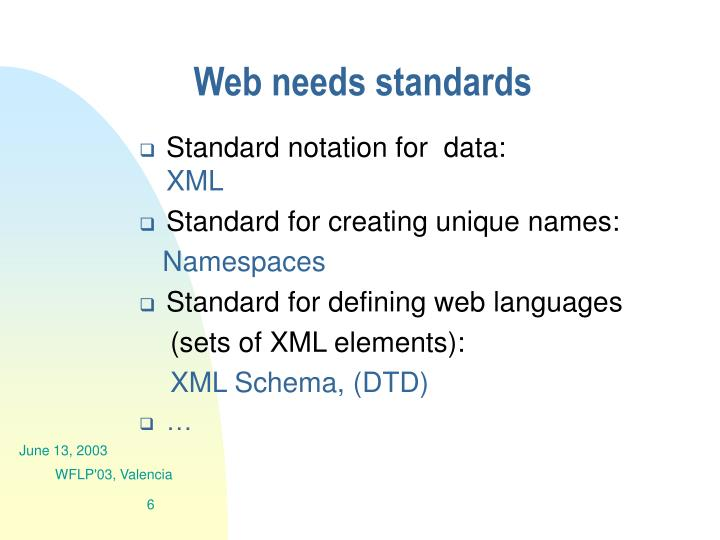 Web needs standards