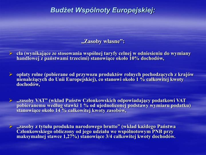 Budżet Wspólnoty Europejskiej: