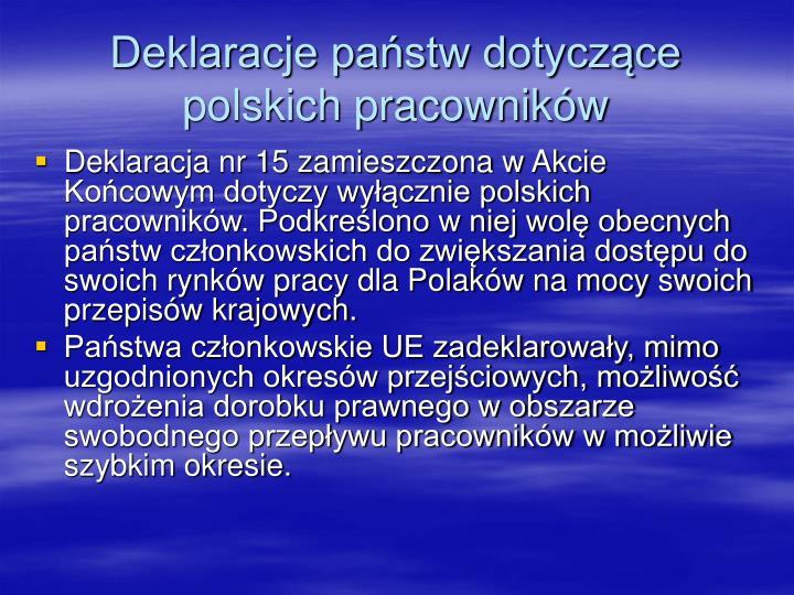 Deklaracje państw dotyczące polskich pracowników