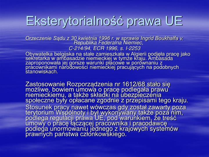 Eksterytorialność prawa UE