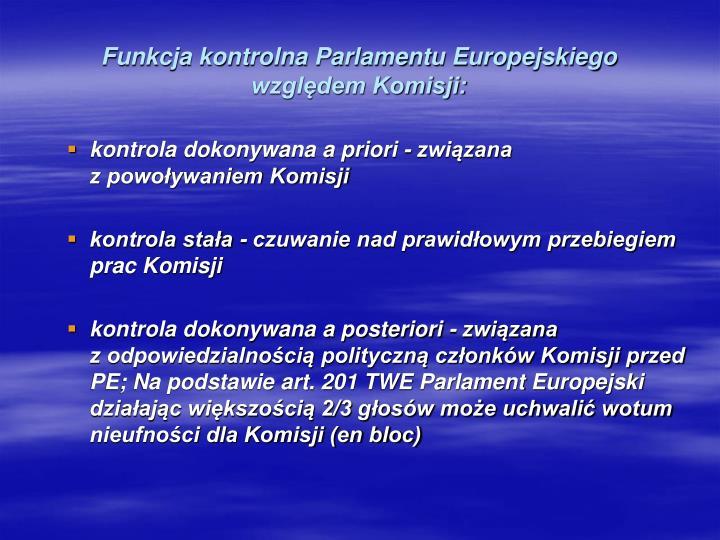 Funkcja kontrolna Parlamentu Europejskiego