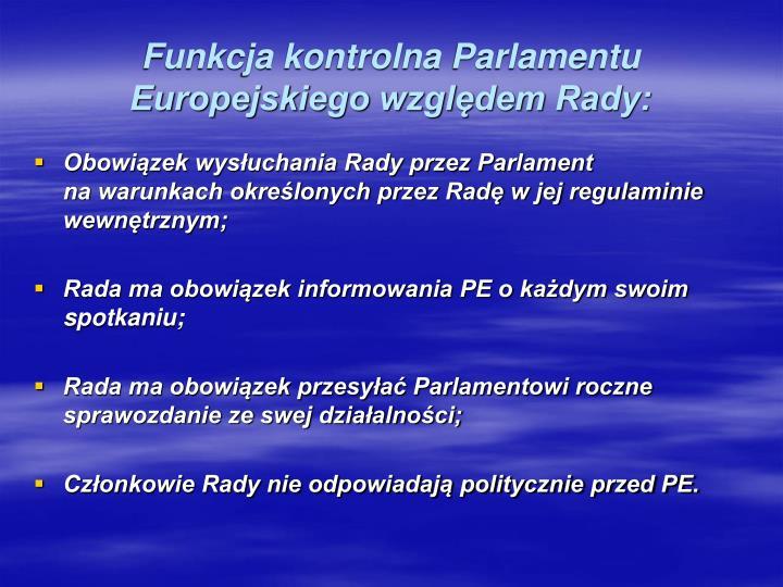 Funkcja kontrolna Parlamentu Europejskiego względem Rady: