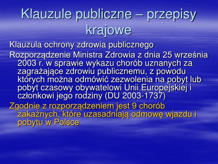 Klauzule publiczne – przepisy krajowe