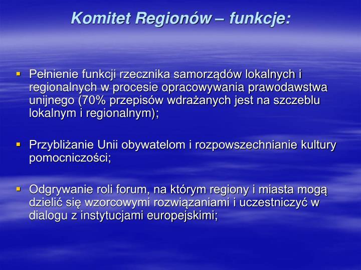 Komitet Regionów – funkcje: