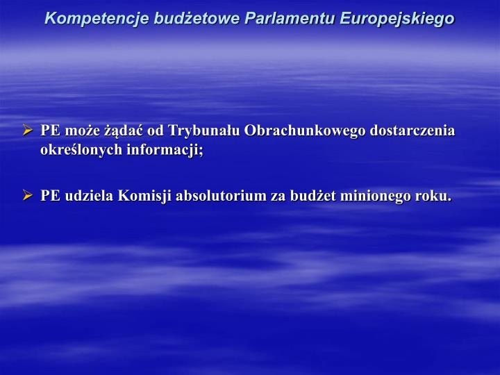 Kompetencje budżetowe Parlamentu Europejskiego