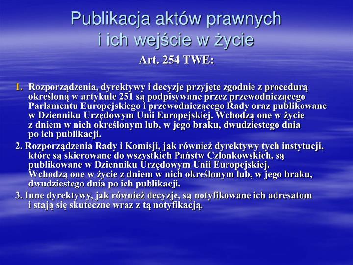 Publikacja aktów prawnych