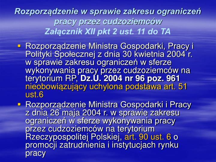 Rozporządzenie w sprawie zakresu ograniczeń pracy przez cudzoziemców