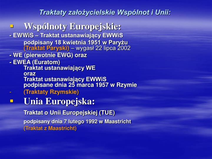 Traktaty założycielskie Wspólnot i Unii: