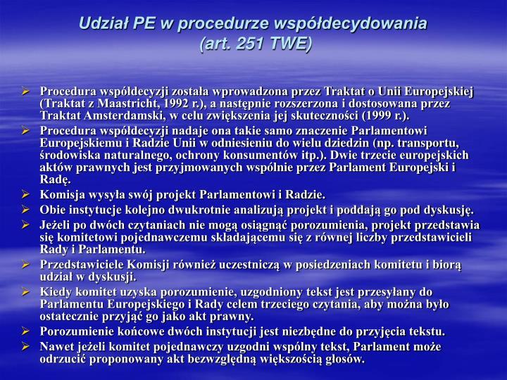Udział PE w procedurze współdecydowania