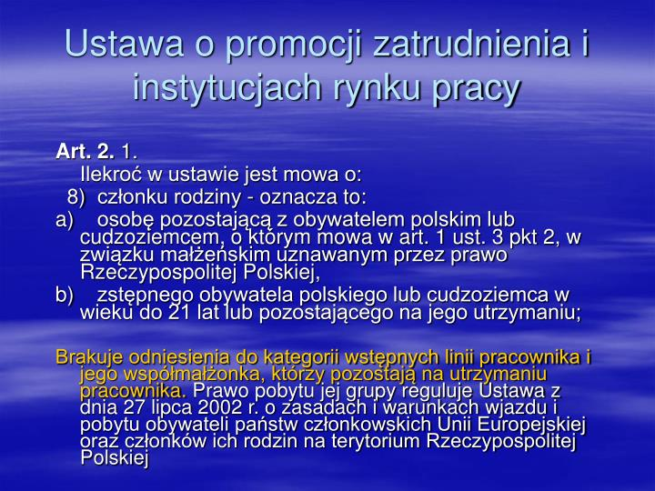 Ustawa o promocji zatrudnienia i instytucjach rynku pracy