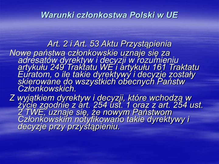 Warunki członkostwa Polski w UE