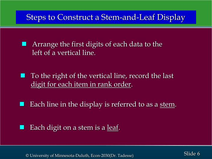 Steps to Construct a Stem-and-Leaf Display