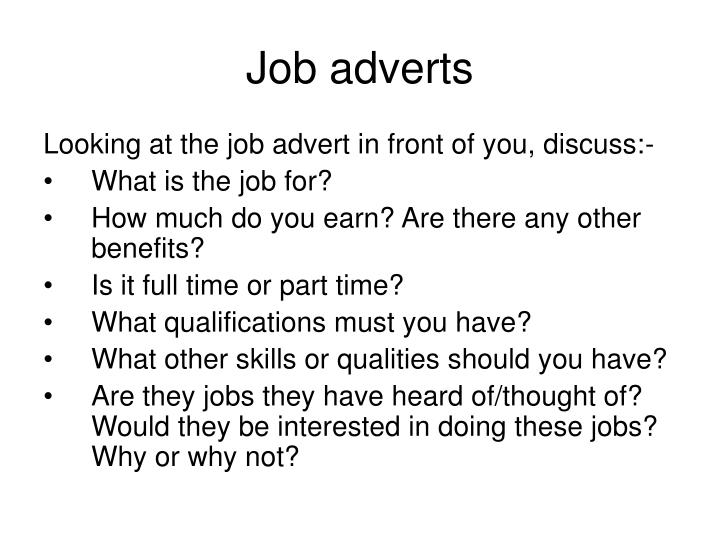Job adverts