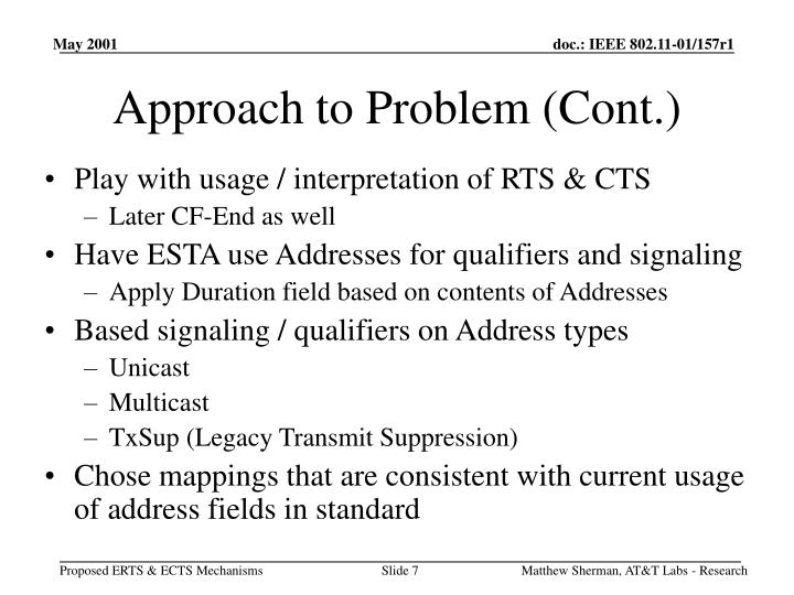 Approach to Problem (Cont.)