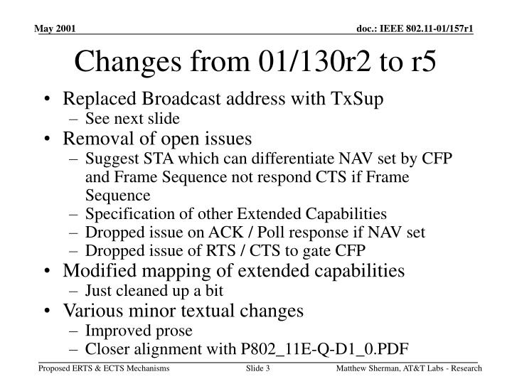 Changes from 01/130r2 to r5