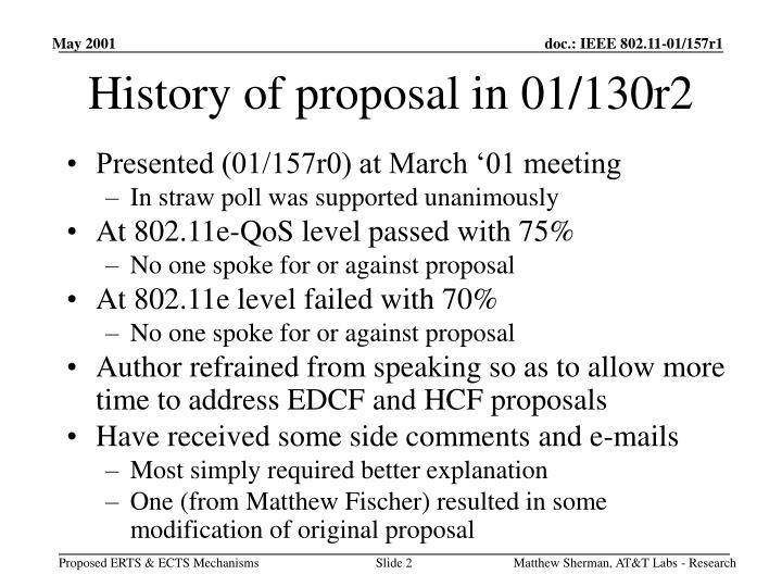 History of proposal in 01/130r2