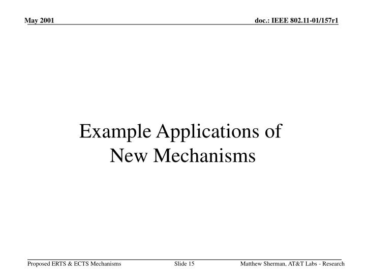 Example Applications of