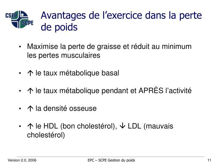 Avantages de l'exercice dans la perte de poids