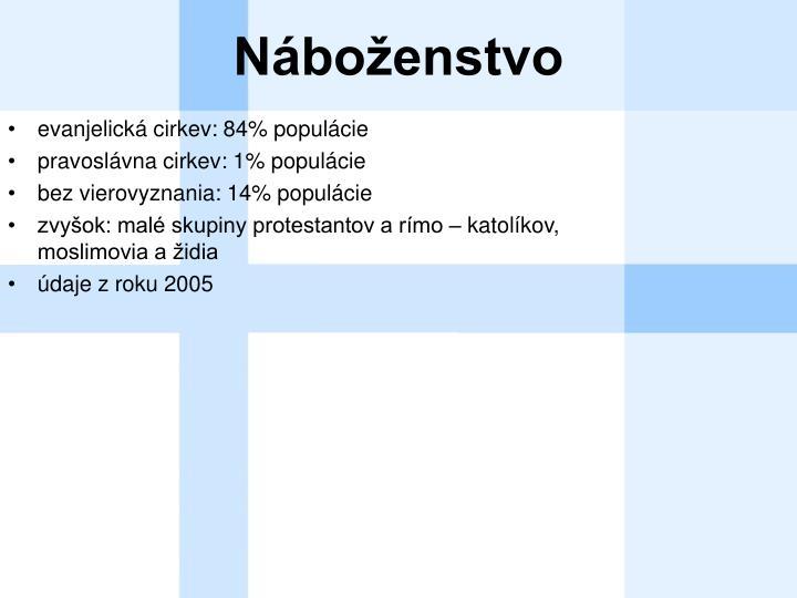 evanjelická cirkev: 84% populácie