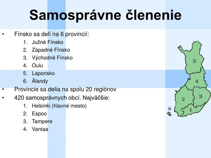 Fínsko sa delí na 6 provincií: