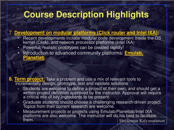 Course Description Highlights