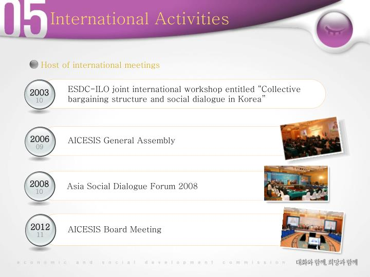 Host of international meetings