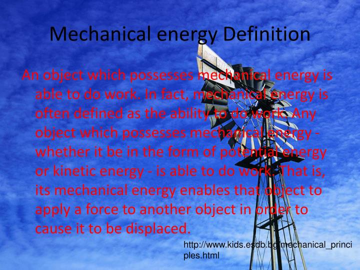 Mechanical energy Definition