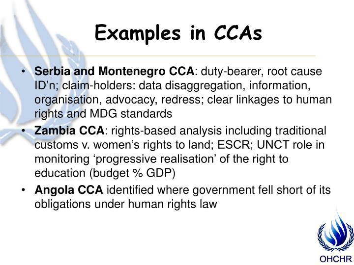 Examples in CCAs