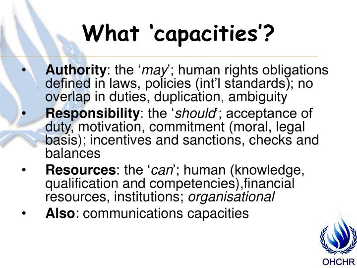 What 'capacities'?