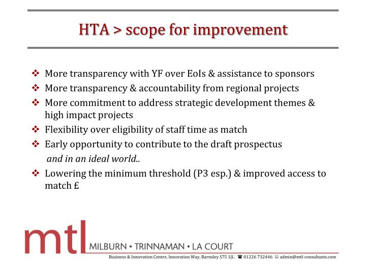 HTA > scope for improvement