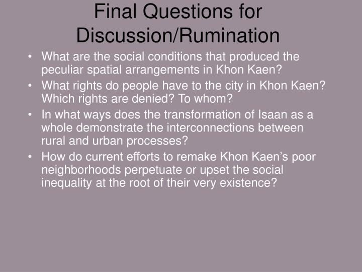 Final Questions for Discussion/Rumination