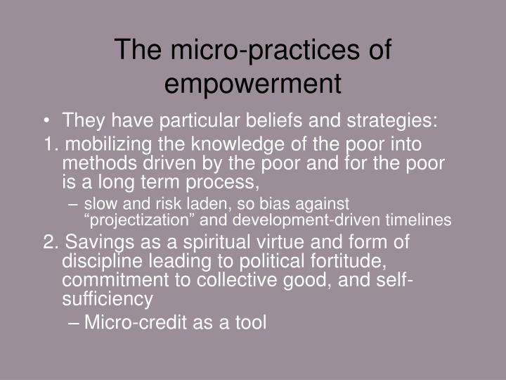 The micro-practices of empowerment