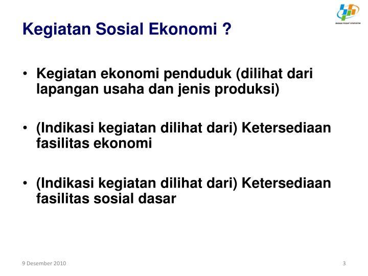 Kegiatan Sosial Ekonomi ?