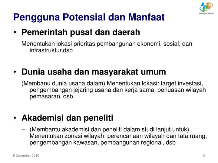 Pengguna Potensial dan Manfaat