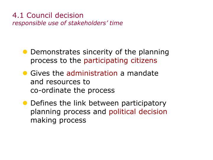 4.1 Council decision