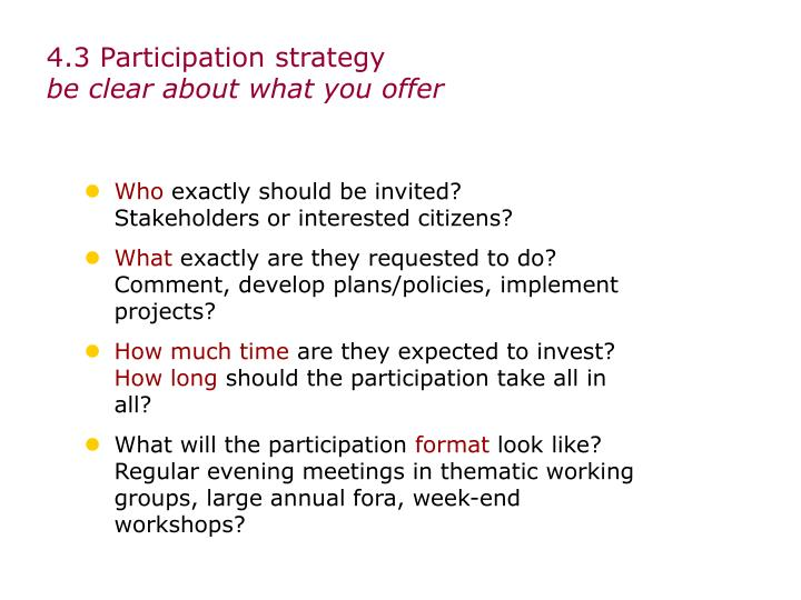 4.3 Participation strategy