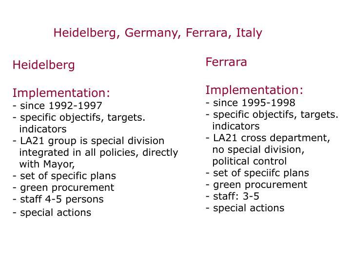 Heidelberg, Germany, Ferrara, Italy
