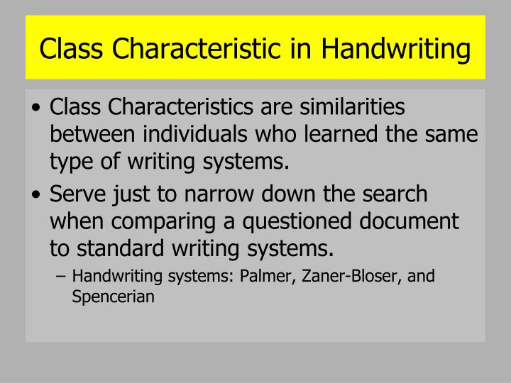 Class Characteristic in Handwriting