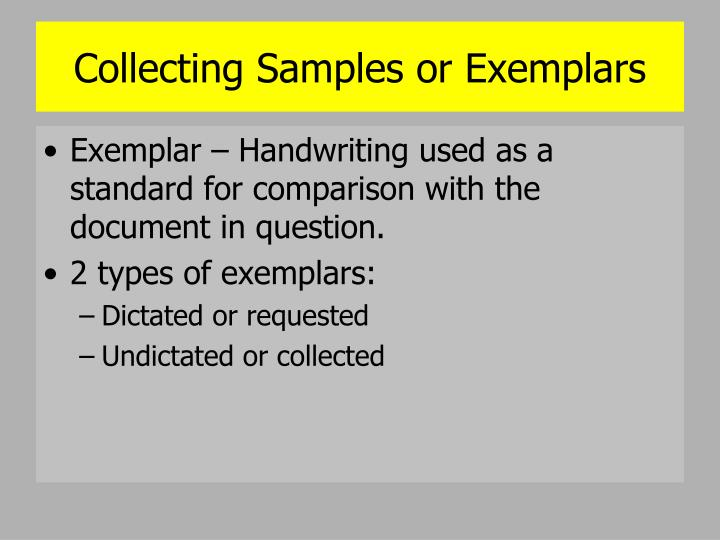 Collecting Samples or Exemplars