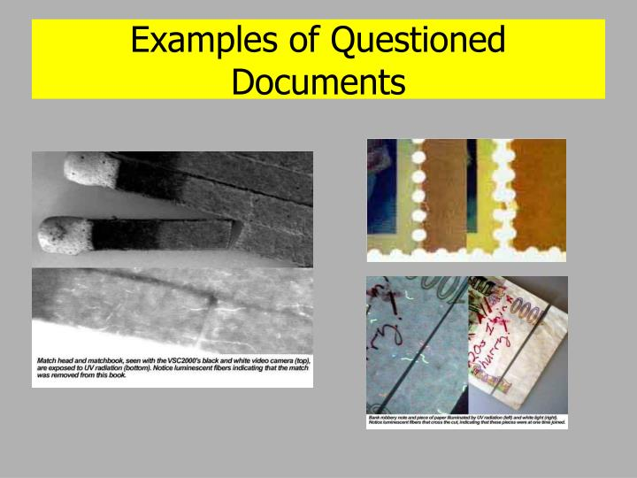 Examples of Questioned Documents