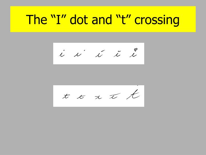 "The ""I"" dot and ""t"" crossing"