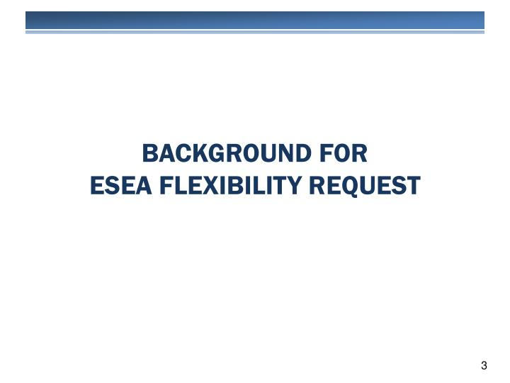 Background for esea flexibility request
